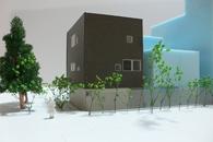 商業地の街並み/店舗付2世帯住宅/鉄骨造3階建て